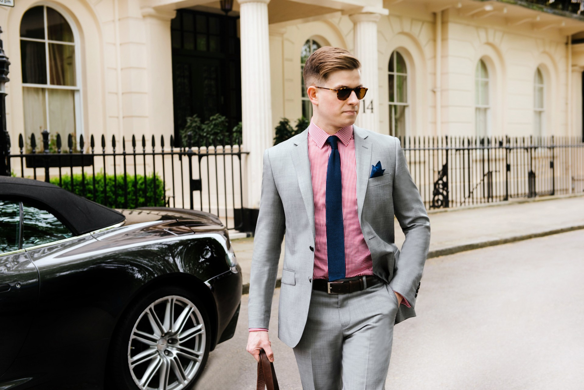 Men's Suit Style - Grey Suit & Red Gingham
