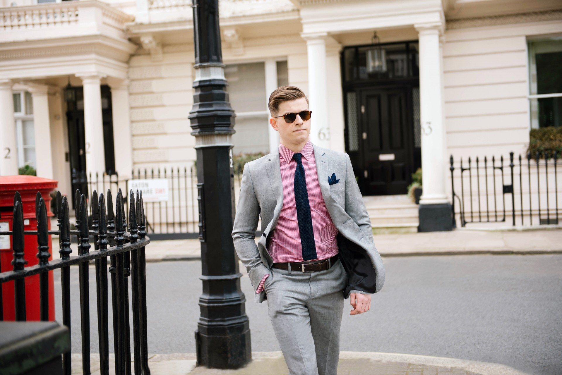 Men's Suit Style - Grey Suit & Red Gingham 2