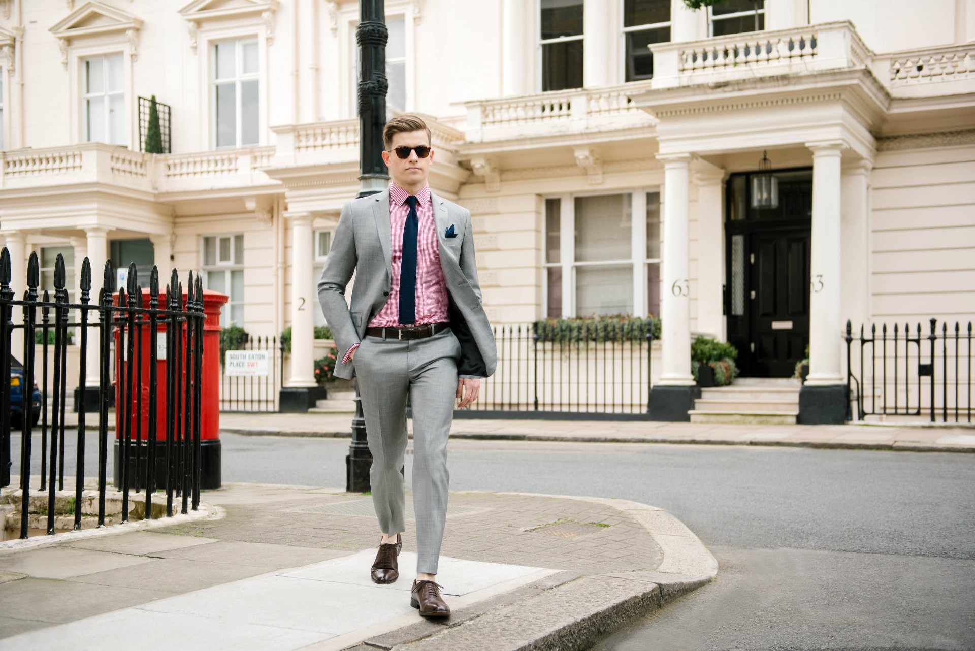 Men's Suit Style - Grey Suit & Red Gingham 3