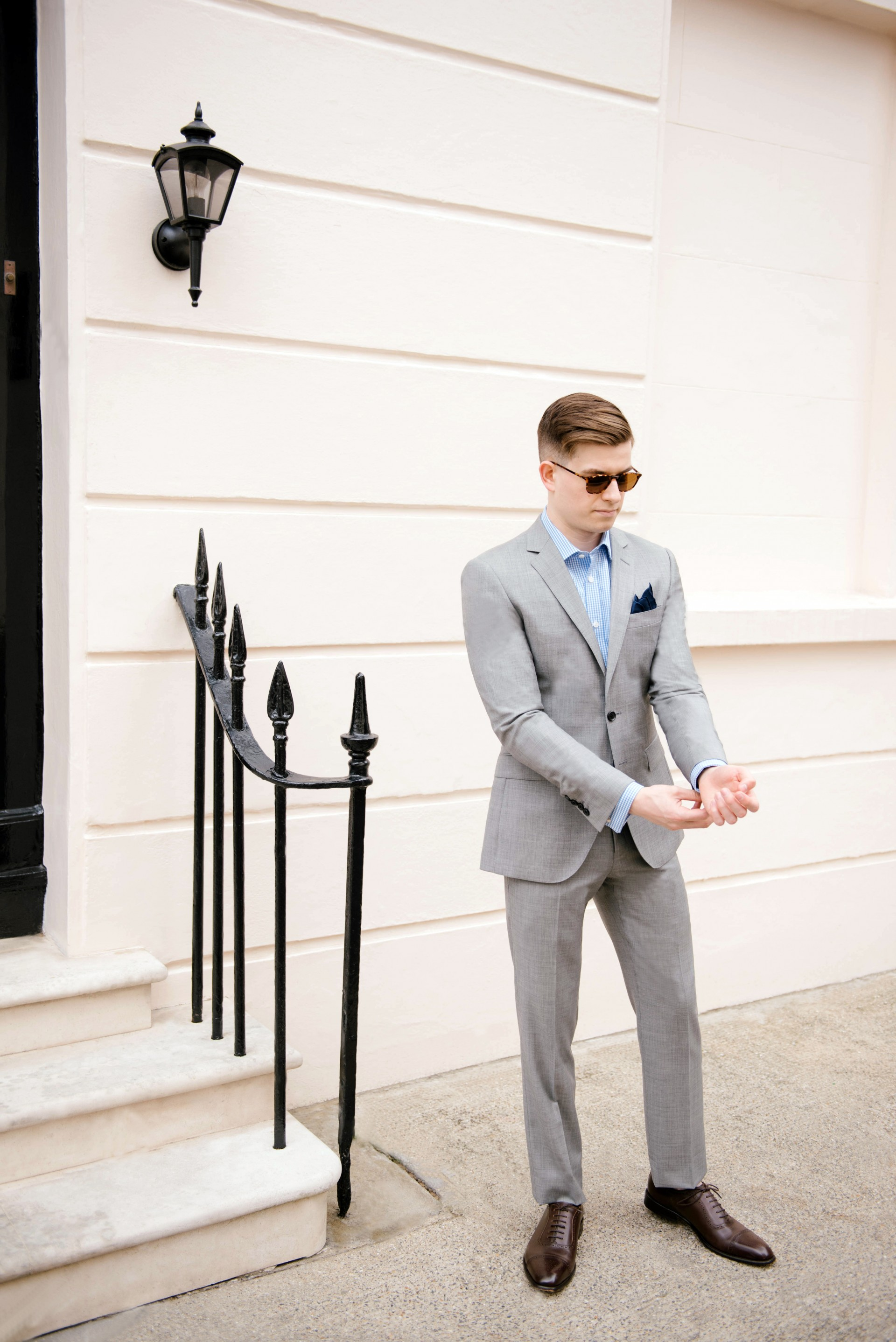 Men's Suit Style - Grey Suit & Blue Gingham 4