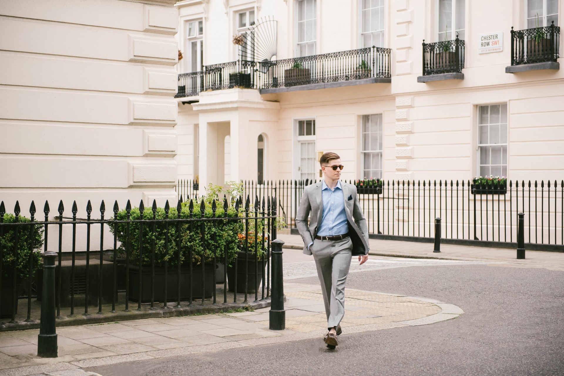 Men's Suit Style - Grey Suit & Blue Gingham 3