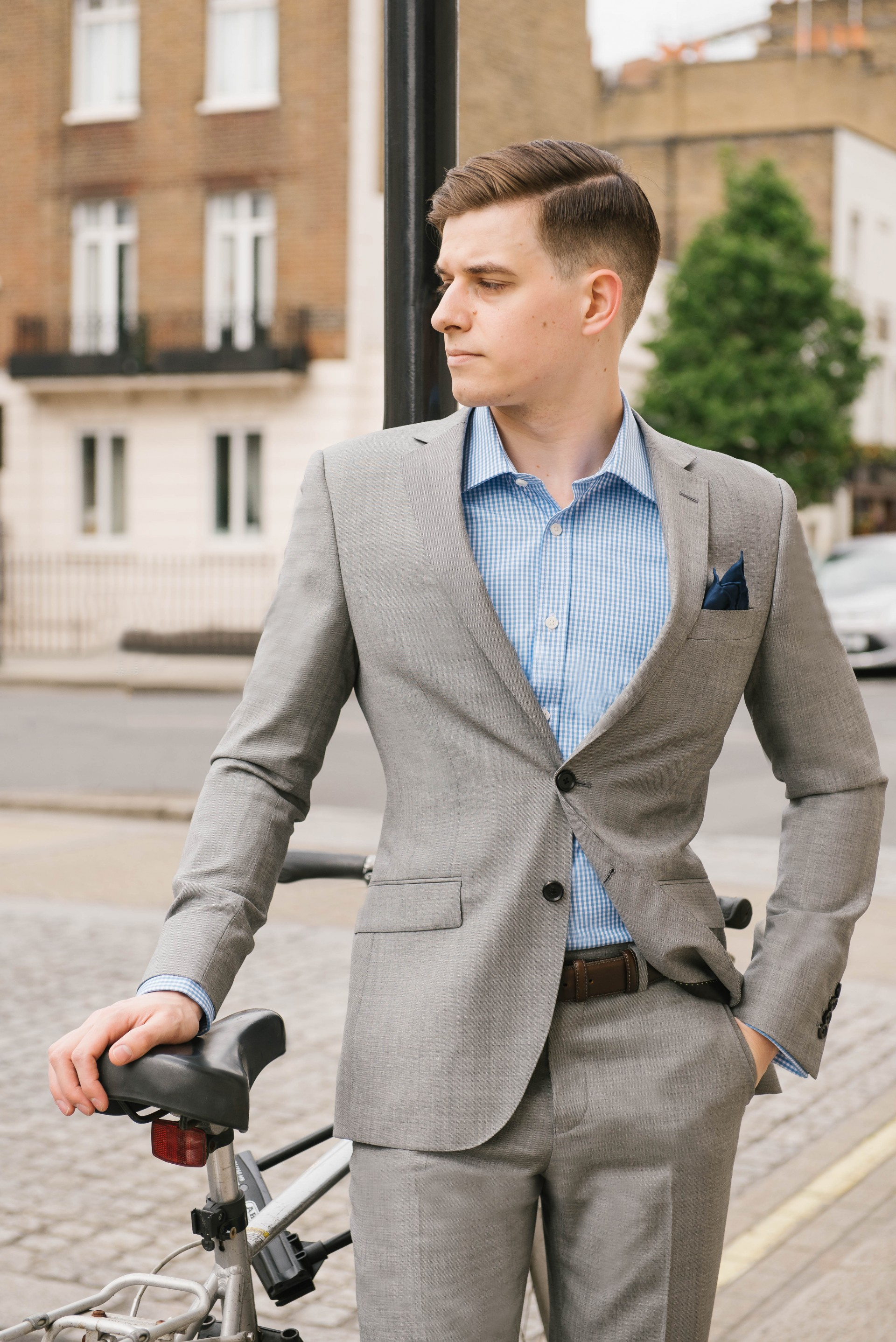 Men's Suit Style - Grey Suit & Blue Gingham 2