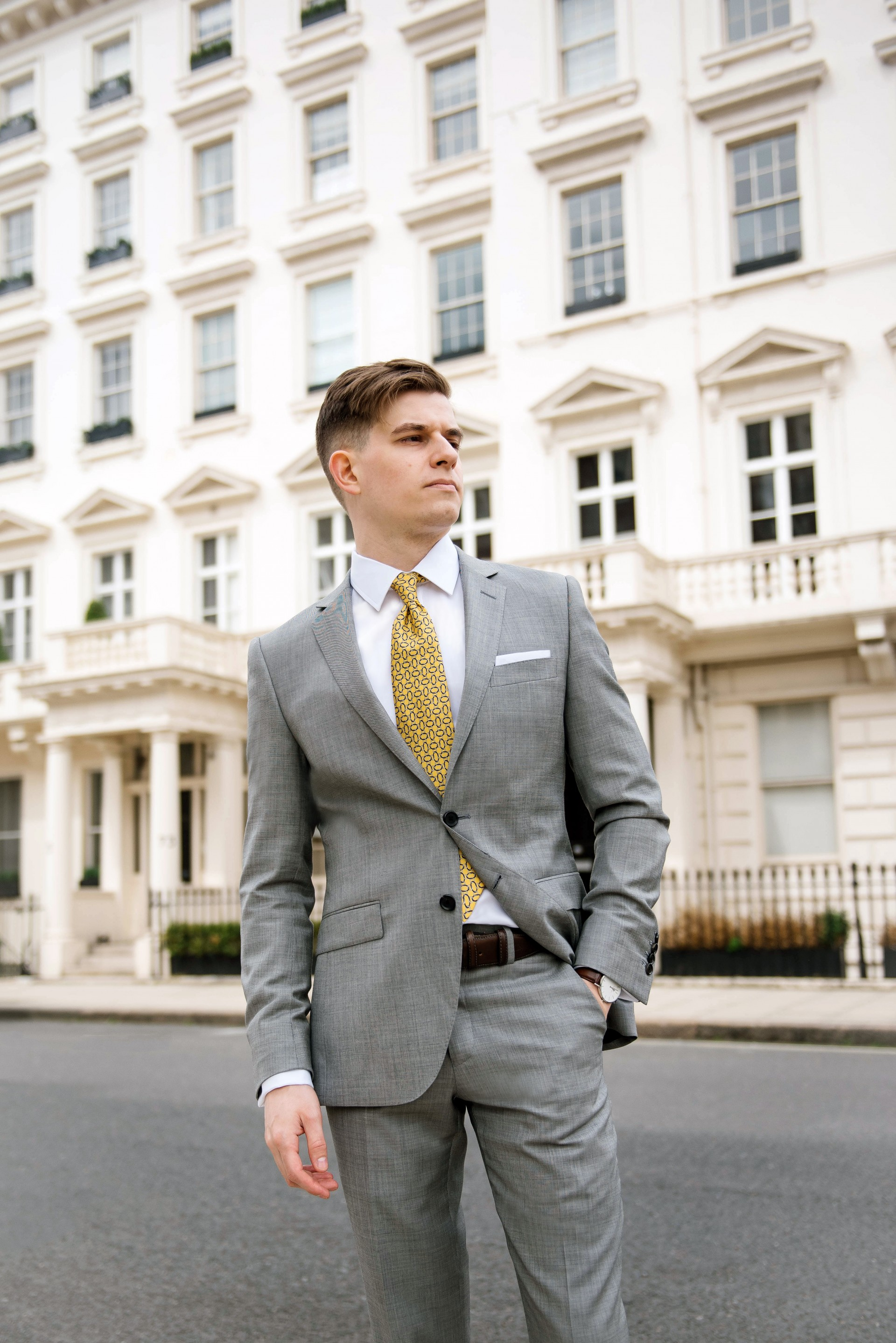 Men's Suit Style - Yellow Tie & Grey Suit 4